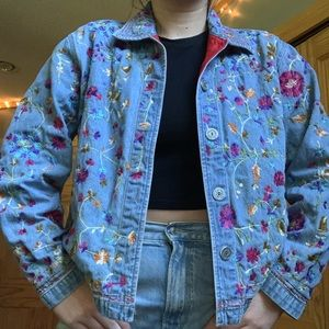 Floral Embroidered Jean Jacket